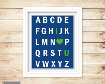 Navy Lime Green Nursery Wall Art Alphabet I love You Heart ABC's Boy's Room Decor Printable 11x14 Digital JPG Instant Download (11)