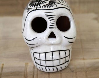 White & Black Ceramic Santos Skull - Day of the Dead
