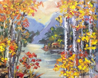 Birches Trees Aspen Trees Lake Landscape original painting Sale
