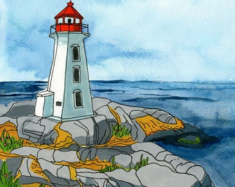 "Peggy's Cove - Limited Edition Print of a Watercolour and Ink original -  8"" x 10"", Nova Scotia Lighthouse, Coastal Art"