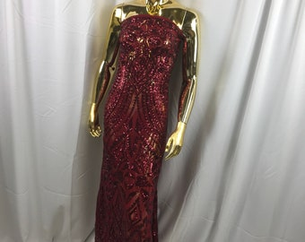 Burgundy geometric diamond design embroidery with sequins on a 4 way Stretch Mesh-dresses-prom-nightgown-sold by the yard.