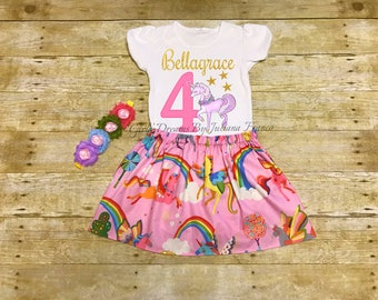 Unicorn Birthday Outfit, Unicorn Pig Birthday Shirt, Unicorn Shirt, Unicorn Dress,Unicorn Tutu,Unicorn Personalized Shirt,Pink Unicorn Dress