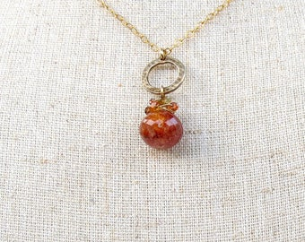 Orange Agate Circle Necklace in 14k Gold Filled Chain