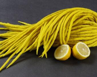 """Wool Dreadlocks Dreads Full Set DE"""" Yellow Lemon """" Dread Double Ended"""