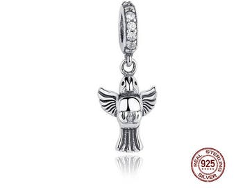 DOVE of Peace Charm, 100% Real 925 Sterling Silver, Fits Pandora, European Snake Chain Bracelets, DIY Jewelry