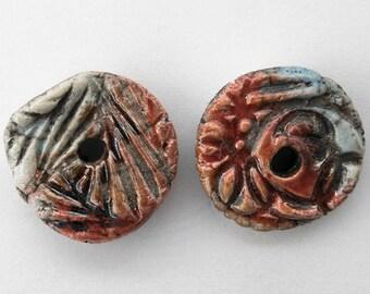 Charm, donut, ceramic bead, Raku, ethnic, red, 2 x