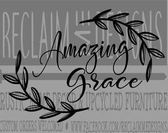 Amazing Grace with Flourish JPEG,PNG, and SVG downloadable file