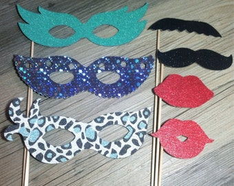 Masquerade GLITTER Photo Props - set of 7 - Photobooth Props, Photo Booth Props, Birthday, Wedding, Bachelorette Party, Masquerade Party