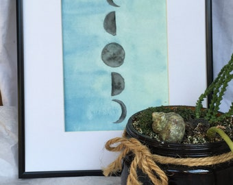 Moon Phases Minimalist Watercolor Painting