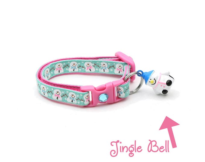 Snow Cat Collar - Jolly Snowmen on Aqua - Small Cat / Kitten or Large(standard) Size Collar