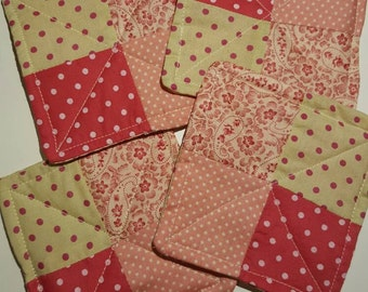 Set of 4 handmade cotton patchwork coasters flowers shabby chic cute cream, red and pink