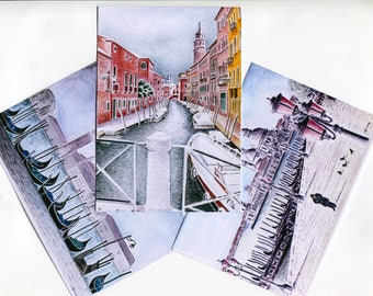 3 maps Reproductions of my original watercolor postcard double, batch number 3: Venice