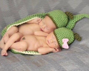 Two Peas in a Pod Crochet Photography Prop - Twins Photo Prop - Crochet Pea Pod
