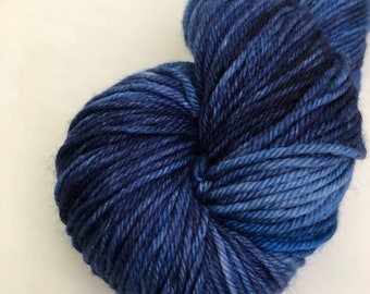 """DK Hand dyed yarn in """"Leah's Blue"""""""
