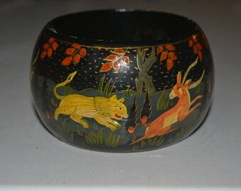Vintage Hand Painted Wide Wooden Bangle Bracelet Animals Wildlife India