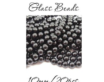 Beads Glass black 10 mm Round 20 pcs pearl-shell | 20 Imitation Black Pearl Round Glass Beads 10mm | Jewelry Supplies