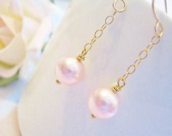 Pink Pearl Earrings, Dangle Earrings, Gold Fill