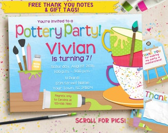 Pottery Party Invitation. Birthday Ceramics. Digital invitation