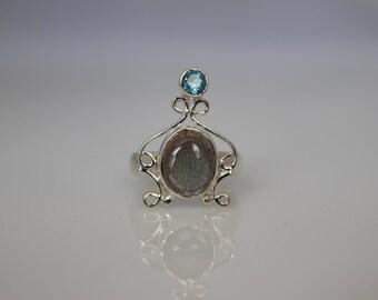 Labradorite with Sky Blue Topaz Ring