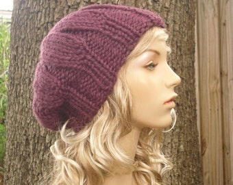 Knit Hat Womens Hat Slouchy Beanie - Urchin Beret Hat in Fig Purple Knit Hat - Purple Hat Purple Beret Purple Beanie Womens Accessories