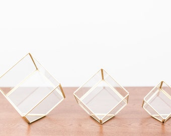 Wedding Centerpiece - Geometric Glass Terrarium - Home Decoration - Gold Glass Terrarium - Gold Cube
