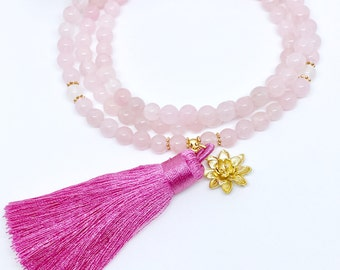 Mala Necklace,Prayer Beads,108 Mala Beads,Healing Crystal Necklace,108 Mala,Rose Quartz Mala,Meditation Mala,Pink Mala,Yoga Necklace, MRQT