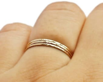14K Hammered Gold Band, slim gold ring, slim stacking ring, gold skinny ring, 14 karat stacks, gift ring gold, super slim rings, bridemaids