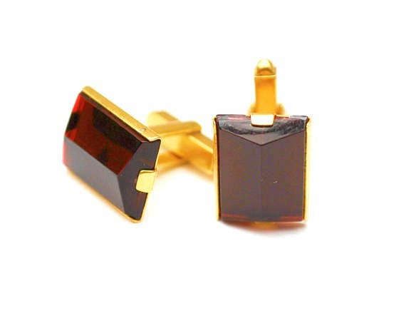 Red Lucite cuff link  -gold metal  - Mid century - Rectangle  plastic  - Mens cufflinks