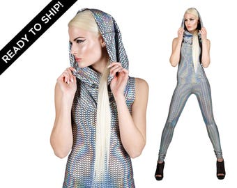 LAST: Holographic Top & Leggings, Futuristic Clothing, Burning Man Outfit, edm Rave Wear, Cyberpunk Clothing, Ravewear, by LENA QUIST