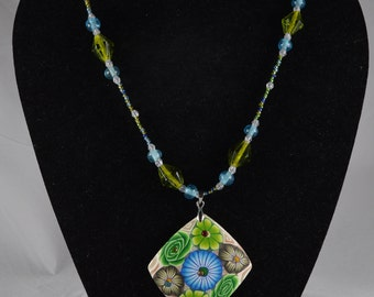 Blue and Green Flower Necklace