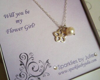 Will You Be My Flower Girl Invitation with Blossom Necklace, Thank you gift, Junior Bridesmaids or Flower Girl, ADJUSTABLE necklace