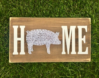 Home with Pig String Art Sign