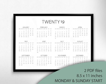 Printable 2019 Landscape Calendar, Monday & Sunday Start, 2019 Year At A Glance Calendar, Minimalist Calendar, 2019 Simple Calendar   CAL006