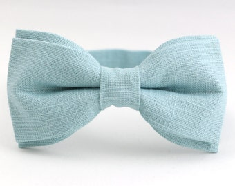 Dusty Blue Bow Tie for Men Soft Blue Mens Bow Tie Linen Bow Tie Wedding Bow Tie Mint Blue Bow Tie Gift for Groom Cold Blue Bow Tie Mens Gift