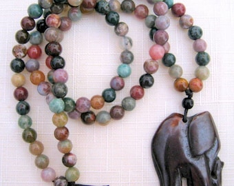 ELEPHANT Hand Carved Wood on Natural Agate Beads Necklace