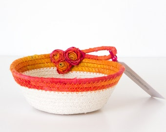 Small Cotton Rope Bowl, Coil and Silk Bowl, Round Bowl, Silk Fabric Bowl, Orange Coil Bowl, Small Orange Bowl, Gifts for Her