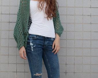 Hand Knit woman oversize sweater Long cardigan fall green sweater open weave top wool sweater
