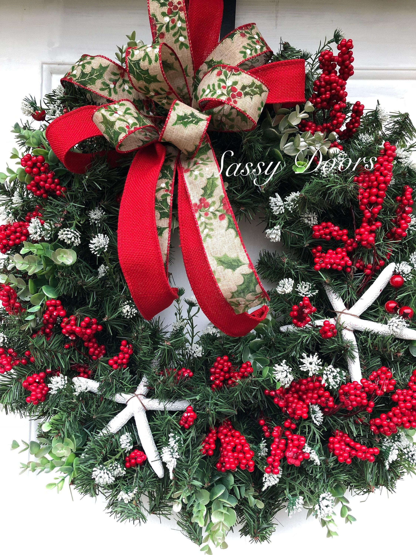 Beach Christmas Wreath, Coastal Christmas Wreath, Nautical ...