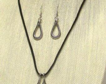 "21"" Black Suede Necklace Set w/Pendant - Suede cord necklace #20672"