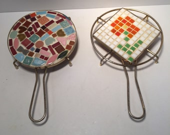 Mid century pair of mosaic tiled trivets
