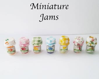 Dollhouse miniature JAM jars 1:12 scale - strawberry, blueberry, orange, banana, peach, kiwi, apple