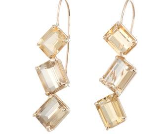 Citrine Drop Earrings Jaggered Vintage 14k Yellow Gold Estate Fine Jewelry