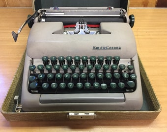 Smith Corona Sterling Vintage Portable Typewriter Mid Century Modern 1955 Works