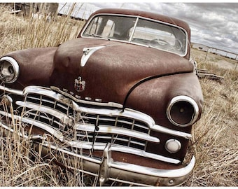 Rusty Abandoned Car Photo - 1940s Dodge Coronet - Old Car Art - Chrome Grille Rusted Car - Classic Car Photography from TX by Liberty Images