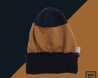 WOOLLO hat // One size // 100% italian wool // Unisex //  Brown-navy