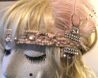 1920s  Pink Evening Headband Gatsby Peaky Blinders Flapper Diamant'e feather Pearl
