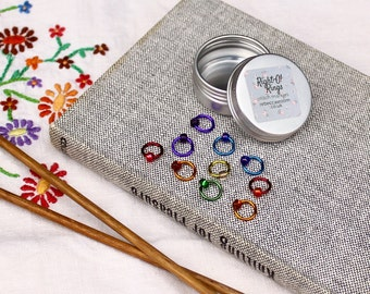 Stitch markers RAINBOW set with tin - knitting supplies, knitting tools, knitting markers, snag free, knitting gift, RIGHT-O markers
