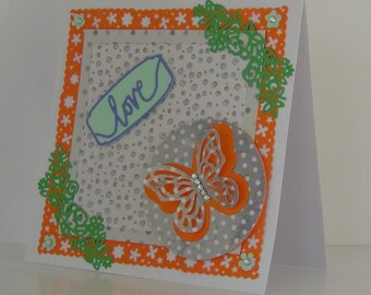 "Hand Made Blank Butterfly Card with ""Love"" greeting"