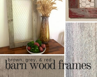 Chicken wire frame 17x30, 15x30, 16x26 | Reclaimed barn wood custom photo holder | Farmhouse rustic wall organizer decor