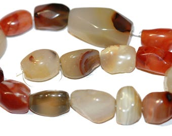 Gemstone Beads Carnelian Large Nugget Beads 10mm - 16mm Earth Tone Beads Mixed Lot 16 Beads
